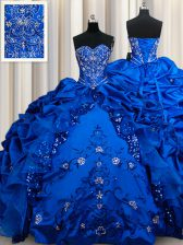 Flare Sequins Pick Ups Floor Length Royal Blue Sweet 16 Quinceanera Dress Sweetheart Sleeveless Lace Up