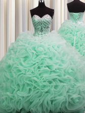 Excellent Brush Train Sweetheart Sleeveless Fabric With Rolling Flowers Quinceanera Gowns Beading and Pick Ups Lace Up