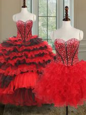 Three Piece Floor Length Lace Up Sweet 16 Quinceanera Dress Black and Red for Military Ball and Sweet 16 and Quinceanera with Beading and Ruffled Layers