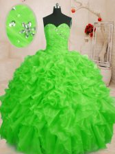 Affordable Organza Lace Up Sweetheart Sleeveless Floor Length Vestidos de Quinceanera Beading and Ruffles