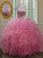 Ball Gowns Quince Ball Gowns Rose Pink Scoop Organza Sleeveless Floor Length Lace Up
