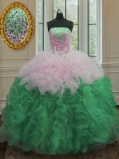 Multi-color Organza Lace Up Quinceanera Dress Sleeveless Floor Length Beading and Ruffles