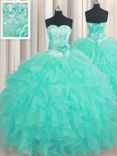 Handcrafted Flower Aqua Blue Sweetheart Neckline Beading and Ruffles and Hand Made Flower 15th Birthday Dress Sleeveless Lace Up