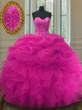 Pick Ups Fuchsia Sleeveless Organza Lace Up Quince Ball Gowns for Military Ball and Sweet 16 and Quinceanera