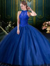 Elegant Blue Ball Gowns Beading and Appliques Quince Ball Gowns Lace Up Tulle Sleeveless Floor Length