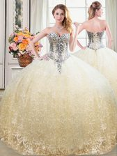 Superior Champagne Sweetheart Neckline Beading and Lace Sweet 16 Dress Sleeveless Lace Up