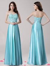 Custom Designed Beading and Appliques and Bowknot Prom Gown Aqua Blue Zipper Sleeveless Floor Length