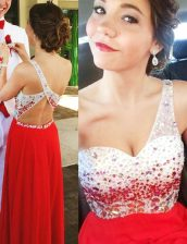 One Shoulder Red Sleeveless Chiffon Backless Prom Dress for Prom and Party