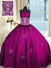 Captivating Floor Length Fuchsia Quinceanera Gowns Strapless Sleeveless Lace Up