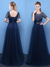 Graceful Floor Length Navy Blue Prom Dresses Scoop Short Sleeves Lace Up