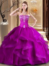 Floor Length Lace Up Sweet 16 Dress Fuchsia for Military Ball and Sweet 16 and Quinceanera with Embroidery and Ruffles