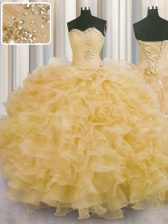 Flare Sleeveless Organza Floor Length Lace Up 15 Quinceanera Dress in Gold with Beading and Ruffles