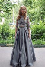 Dramatic Scoop 3 4 Length Sleeve Homecoming Dress Floor Length Lace Grey Satin