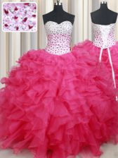Sleeveless Floor Length Beading and Ruffles Lace Up Sweet 16 Dresses with Hot Pink