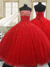 Classical Floor Length Red Sweet 16 Quinceanera Dress Strapless Sleeveless Lace Up