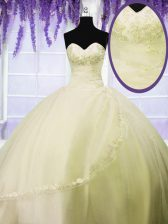 Smart Light Yellow Lace Up Quinceanera Dresses Appliques Sleeveless Floor Length