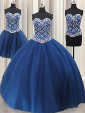 Three Piece Tulle Sweetheart Sleeveless Lace Up Beading and Sequins Sweet 16 Dress in Blue