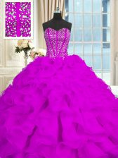 Sweetheart Sleeveless Brush Train Lace Up Ball Gown Prom Dress Purple Organza