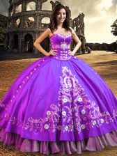 Satin Sleeveless Floor Length Quince Ball Gowns and Embroidery