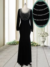 High Class Scoop Backless Elastic Woven Satin Long Sleeves Floor Length Prom Gown and Beading
