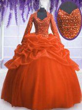 Sequins Pick Ups Floor Length Orange Red Sweet 16 Quinceanera Dress V-neck Long Sleeves Zipper
