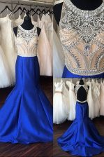Mermaid Scoop Royal Blue Sleeveless Sweep Train Beading Prom Party Dress