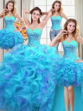 Romantic Four Piece Multi-color Organza Lace Up Quince Ball Gowns Sleeveless Floor Length Beading and Ruffles