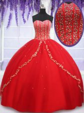 Traditional Red Sleeveless Floor Length Beading and Appliques Lace Up Quinceanera Gown