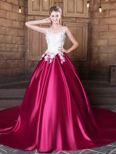Stylish Scoop Sleeveless Quinceanera Dresses Court Train Lace and Appliques Hot Pink Elastic Woven Satin