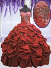 Fine Coral Red Ball Gowns Sweetheart Sleeveless Taffeta Floor Length Lace Up Beading and Pick Ups Quinceanera Gowns