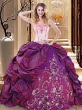 Elegant Purple Sleeveless Floor Length Embroidery Lace Up Quinceanera Dress
