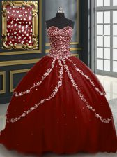 Burgundy Sleeveless With Train Beading and Appliques Lace Up Vestidos de Quinceanera