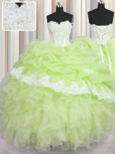 Yellow Green Organza Lace Up 15 Quinceanera Dress Sleeveless Floor Length Beading and Appliques and Ruffles and Pick Ups