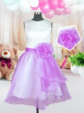 Admirable Scoop Sleeveless Zipper Knee Length Hand Made Flower Kids Formal Wear
