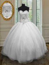 Sophisticated White Sweetheart Neckline Beading 15 Quinceanera Dress Sleeveless Lace Up