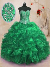 Hot Sale With Train Lace Up Sweet 16 Quinceanera Dress Green for Military Ball and Sweet 16 and Quinceanera with Beading and Ruffles Sweep Train