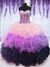 Dramatic Sleeveless Beading and Ruffles and Ruffled Layers Lace Up Quinceanera Dress