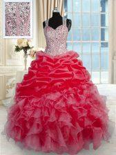 Dazzling Red Ball Gowns Beading and Ruffles Quinceanera Dress Zipper Organza Sleeveless Floor Length