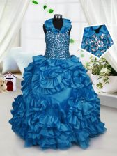 Halter Top Sleeveless Beading and Ruffles Zipper Girls Pageant Dresses
