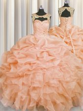 Pick Ups Floor Length Peach Quinceanera Gowns Scoop Sleeveless Lace Up