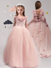 Scoop Pink Backless Flower Girl Dresses for Less Lace and Appliques and Ruffles Long Sleeves With Brush Train