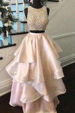 Amazing Scoop Beading Prom Evening Gown Peach Zipper Sleeveless Floor Length