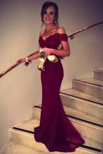 Classical Burgundy Off The Shoulder Neckline Lace Dress for Prom Short Sleeves Backless
