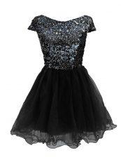Fabulous Black Bateau Zipper Sequins Evening Dress Cap Sleeves