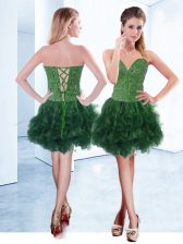 Eye-catching Knee Length Dark Green Homecoming Dress Sweetheart Sleeveless Lace Up