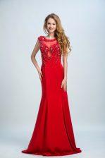 Flirting Mermaid Scoop Sleeveless Brush Train Side Zipper Prom Gown Red Chiffon