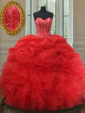 Red Ball Gowns Beading and Ruffles and Pick Ups 15th Birthday Dress Lace Up Organza Sleeveless
