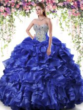 Customized Floor Length Ball Gowns Sleeveless Royal Blue Quinceanera Gown Lace Up