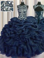 Navy Blue Ball Gowns Scoop Sleeveless Organza Floor Length Lace Up Beading and Pick Ups Quince Ball Gowns