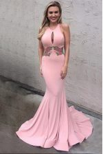 Inexpensive Mermaid Scoop Pink Elastic Woven Satin Criss Cross Prom Dress Sleeveless With Brush Train Appliques